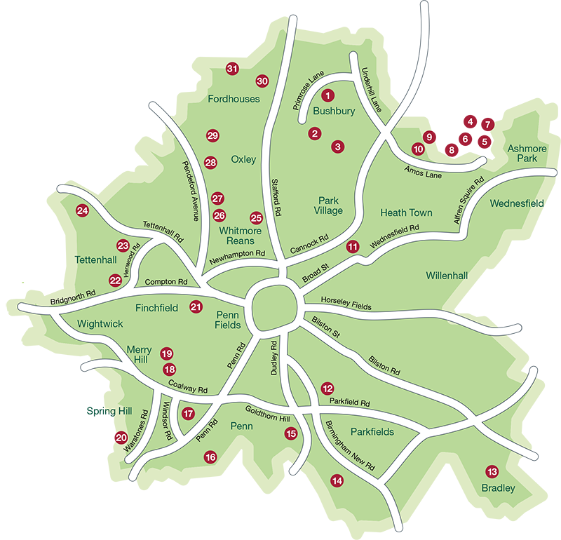 Allotment locations in Wolverhampton