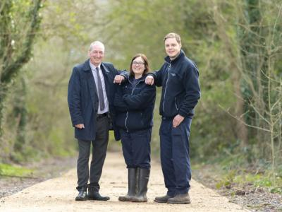 Councillor Steve Evans, Cabinet Member for City Environment tours the improvements at Smestow Valley Nature Reserve with  Lead Rangers Becky Owens and Tom Tyler