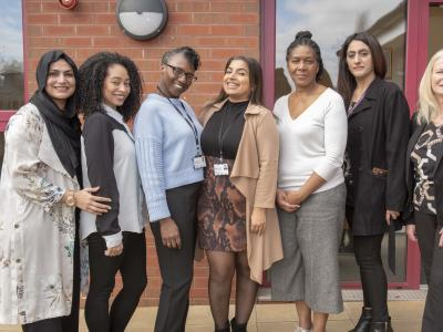 (l-r): Sofia Haider, Lavinia Jackson, Bethune Smith, Maliah Fazal and Denise Wilson from Aspiring Futures, and Karen Sahota and Sue Lindup from City of Wolverhampton Council's skills team