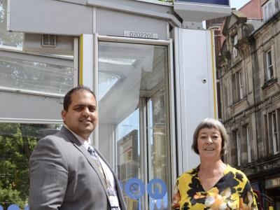 (l-r): Councillor Harman Banger and Jefny Ashcroft at the Wolverhampton Art Gallery bus stop on Lichfield Street
