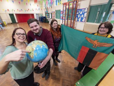 Warstones Primary School Headteacher Fiona Feeney, right, and teachers Vicky Osbourne from Woodfield Primary School and Jonathan Corbett and Emma Bayliss from Warstones Primary School are taking part in the Connecting Classrooms through Global Learning project