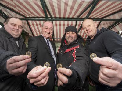 R to L:  John Paul Allan - cobbler and key cutter stall trader, Councillor Steve Evans - Cabinet Member for City Environment at City of Wolverhampton Council, Gary Green - fruit and veg stall trader, Jay Baso - Chair of Wednesfield Village Business Alliance