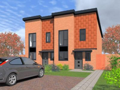 Artist's impression of new council housing on Heath Town estate