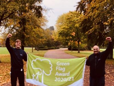 Part of the winning team to be awarded the international Green Flag Award: (l-r) City of Wolverhampton Council Park Rangers Tom Tyler and Kameron Paul at West Park