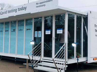 The mobile Covid-19 testing unit is available at West Park this week.