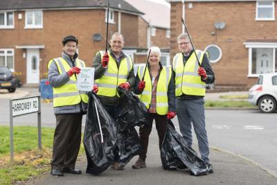 Local resident, John Brinkworth, rallies support for a community litter pick, with equipment provided by City of Wolverhampton Council