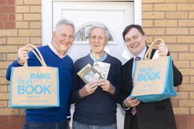 Celebrating the new partnership are Home Library Service volunteer delivery driver Nigel Ormerod, customer Albert Clinton, and Councillor John Reynolds, the City of Wolverhampton Council's Cabinet Member for City Economy