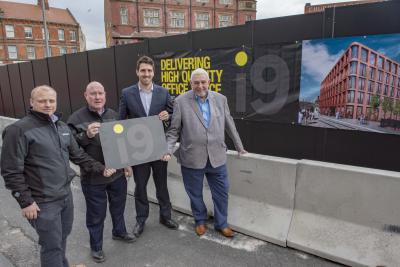 (l-r): Simon Gollins, GRAHAM site manager, Pat Cassily, GRAHAM Senior Project Manager, Fraser Godfrey, Glenn Howells Architects Senior Architect, and Councillor Peter Bilson