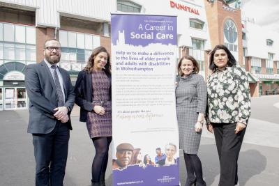 Launching the fourth annual Social Work Conference are (l-r) David Watts, the City of Wolverhampton Council's Director of Adult Services, Louise Haughton, Principal Social Worker, Emma Bennett, Director of Children's Services, and keynote speaker Jasvinder Sanghera CBE