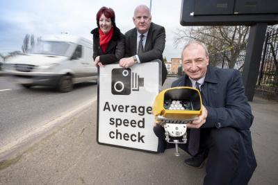 (l-r) Lynnette Kelly, West Midlands Police, Councillor David Hosell, Cabinet Member for Highways at Sandwell Council, Councillor Steve Evans, Cabinet Member for City Environment at City of Wolverhampton Council