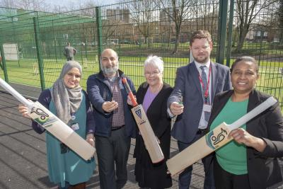 Celebrating the official opening of the new facilities are, l-r, Ward Cllr Obaida Ahmed, TLC College CEO Mamood Kahn, Ward Cllr Lynne Moran, Dunstall Hill PS Head of School Lee Fellows, CWC Cabinet Member for Public Health and Wellbeing Cllr Hazel Malcolm
