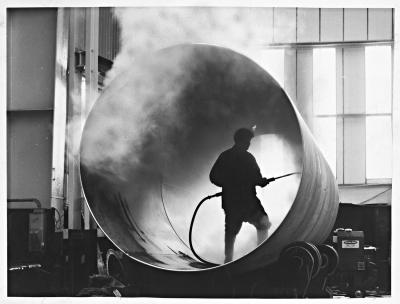 June 13, 1968: Inner shell of stainless steel liquid gas storage vessel being steam cleaned at the Tipton works of Thompson Horseley division