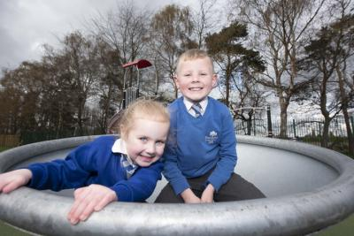 Poppy-Rose Hendriks, aged 4, Jacob Hendricks aged 8 enjoy the new play area