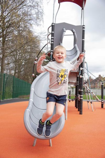 Thomas Oliver aged 6, enjoying the new play area
