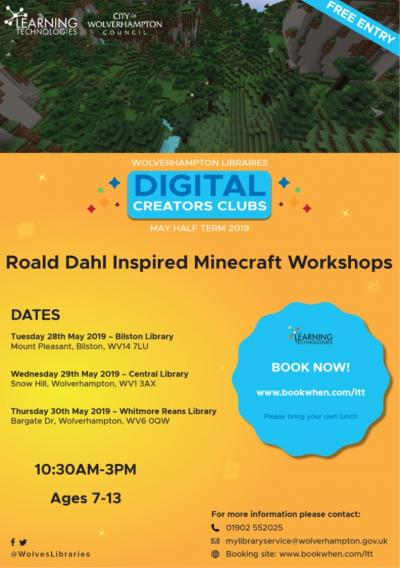 The fantastical worlds of Minecraft and Roald Dahl will collide in a series of half term Digital Creator Clubs for children