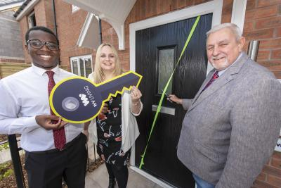 Thomas Yaw Entsua Mensah, first time buyer at Sweet Briary, with the City of Wolverhampton Council's Director for City Assets and Housing Kate Martin and Deputy Leader and Cabinet Member for City Assets and Housing Councillor Peter Bilson