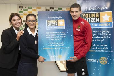 2018's Young Citizens of the Year Millie Betteridge and Taranveer Khangura with Wolverhampton Wanderers captain Conor Coady