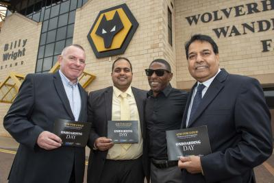 (L-R): Stuart Dudwell, NDT Midlands Ltd Managing Director, Cllr Harman Banger, Darren Harris, Paralympian and England's most capped blind footballer, and David Main, Managing Director of Wolverhampton based furniture company, Shankar, who also previously benefitted from the programme