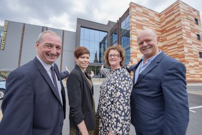 (l-r) Councillor Steve Evans, Cabinet Member for City Environment at City of Wolverhampton Council, Ruth Powell, Head of Technical Services at Marston's, Richard Webster, Group Head of Health and Safety and Emma Caddick, Service Lead for Environmental Health at City of Wolverhampton Council