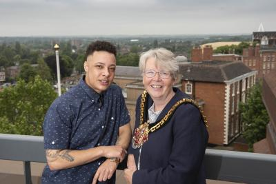 Rapper Nate Ethan with the Mayor of the City of Wolverhampton, Cllr Claire Darke
