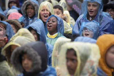 Hundreds of pupils from across Wolverhampton braved the inclement weather to put on a spectacular musical celebration in Queen Square today (Tuesday 11 June)