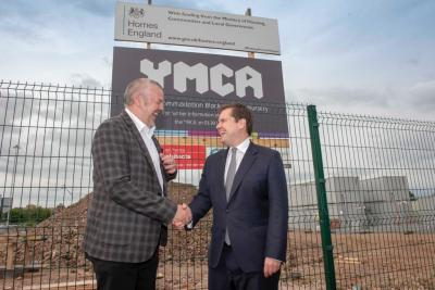 (l-r) Councillor Ian Brookfield and Secretary of State, Robert Jenrick MP, at the old bus depot development