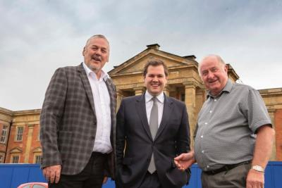 (l-r) Councillor Ian Brookfield, Secretary of State, Robert Jenrick MP, and West Midlands Combined Authority Portfolio Lead for Housing and Land, Councillor Mike Bird, outside the former Royal Hospital site