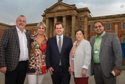 (l-r) Councillor Ian Brookfield, Cllr Beverley Momenabadi (Ettingshall ward), Secretary of State, Robert Jenrick MP, Councillor Zee Russell (Ettingshall ward), and City of Wolverhampton Council Cabinet Member for City Economy, Councillor Harman Banger