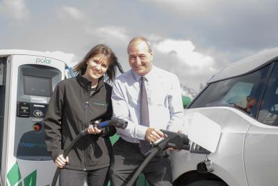 (L-R) Tamara Bowitz, Business Manager at BP Chargemaster and Councillor Steve Evans, Cabinet Member for City Environment at City of Wolverhampton Council at Clifton Street car park
