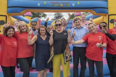 L-R City of W'ton Council's Director of Children's Services Emma Bennett, foster carer Emma-Jane Kisby, Cabinet Member for Children and Young People Cllr John Reynolds, young people and members of the Fostering for W'ton team at the picnic in the park