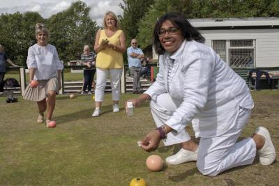 Discovering the benefits of bowling on people's health and wellbeing are, left to right, Councillors Beverley Momenabadi, Linda Leach and Olivia Birch