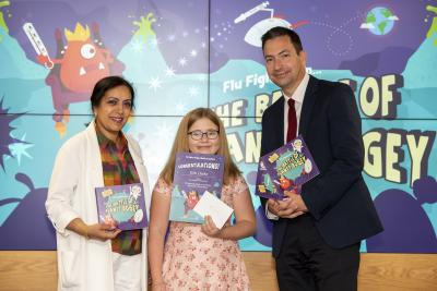 Evie Clarke, who helped inspire the character of Lord Fever, with the City of Wolverhampton Council's Cabinet Member for Public Health and Wellbeing Councillor Jasbir Jaspal and Wolverhampton's Director of Public Health, John Denley