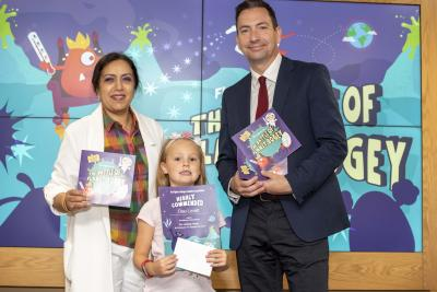 Cleo Lovatt, who was commended for her creation, Freezy, with the City of Wolverhampton Council's Cabinet Member for Public Health and Wellbeing Councillor Jasbir Jaspal and Wolverhampton's Director of Public Health, John Denley