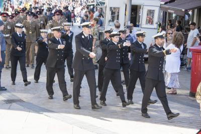 HMS Forward march through Wolverhampton city centre during Armed Forces Day celebrations in 2018