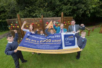 Celebrating Northern House School Primary PRU's Good Ofsted are Councillor Dr Michael Hardacre, the City of Wolverhampton Council's Cabinet Member for Education and Skills, Executive Headteacher Adam Price, Interim Headteacher Amanda Marson and pupils Jaiden Smith, Dylan Webb, Kenzie Anderson and Chevion Coxill