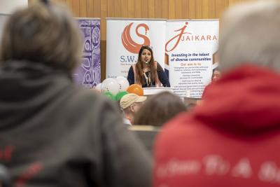 Speaking at the launch of the helpline – 0800 953 9777 – is Jaikara chair and City of Wolverhampton Councillor Rupinderjit Kaur