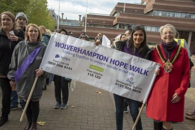 Mayor of Wolverhampton Councillor Claire Darke, right, was among those joining the Hopewalk