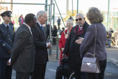 HRH The Duke of Gloucester is welcomed to Wolverhampton by its Mayor, Councillor Claire Darke, and City Council Deputy Leader, Councillor Peter Bilson