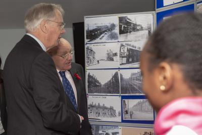 HRH The Duke of Gloucester talks to Heath Town photographer/historian, Vic Collins