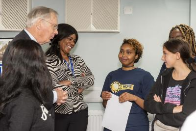 HRH The Duke of Gloucester speaks to Hope Community Project volunteers and its girls' group