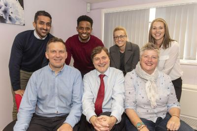 Councillor John Reynolds, Cabinet Member for Children and Young People, front centre, meets members of the new Power2 team including, front left, Head of Service Inclusion Support Rob Hart, front right, Service Manager Celia Payne and back row, left to right, Educational Psychologist Yuvender Prashar, Counselling Psychologist David King, Social Worker Lisa Marie-Lane and Team Manager Hannah Bates