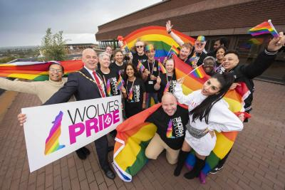 Deputy Mayor of the City of Wolverhampton, Councillor Greg Brackenridge, with members of the Wolverhampton LGBT+ Alliance and partners – getting ready for this weekend's Pride festival