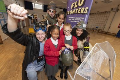 Our heroes from Gazebo's innovative adaptation of the 2 Flu Fighters stories – the Nurse (Fran Richards), Ani (April Hudson) and Daniel (Dominic Thompson) – meet pupils from Parkfield Primary School