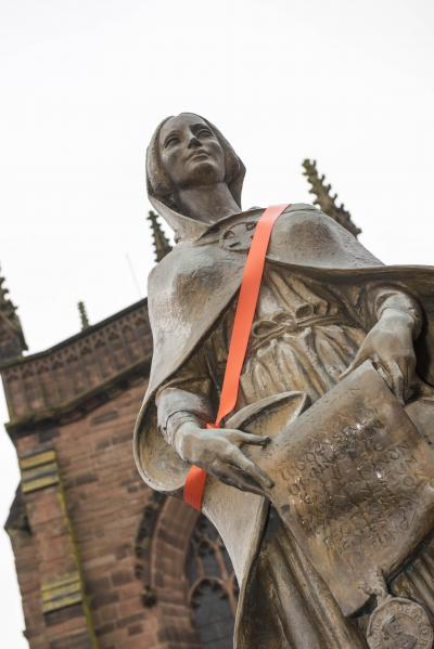 Lady Wulfruna has been given an orange sash in support of this year's Orange Wolverhampton campaign to end gender-based violence