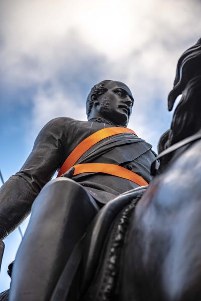 The Prince Albert statue, sporting an orange sash, is always a focal point for the Orange Wolverhampton campaign