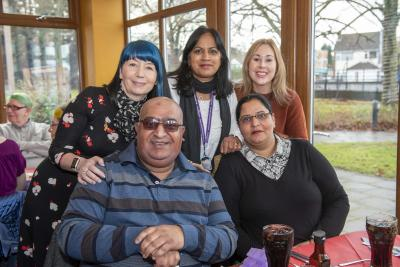 Carers were joined by Community Support Manager Lesley Johnson, back left, at the Christmas meals