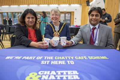 Catching up with the Mayor of Wolverhampton Councillor Claire Darke at the Chatty Cafe launch at the Bob Jones Community Hub recently are Health Improvement Officer Anita Patel and Consultant in Public Health Dr Ankush Mittal
