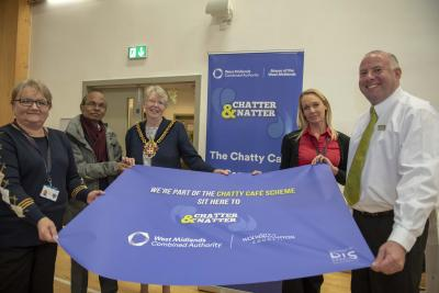 Supporting the Chatty Cafe with Mayor Councillor Claire Darke are Royal Wolverhampton NHS Trust Retail Catering Manager Karen Williams and catering team member Lucie Burke,  Jaswant Patel of Sarkar Group, and David Nicol, Coffee Shop Team Lead for Waitrose