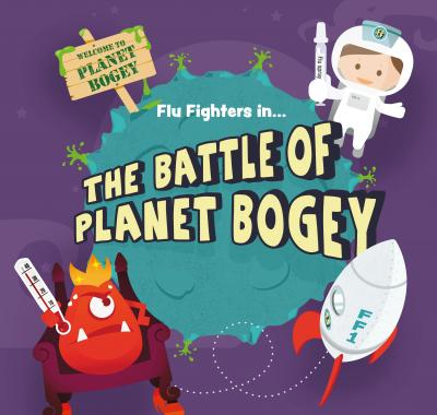 The cover of this year's story, Flu Fighters in The Battle of Planet Bogey