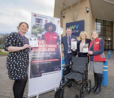 Launching the new Mobility Aids Service distribution point at WV Active Aldersley are, left to right, City of Wolverhampton Council Asset Officer Hayley Kelly, WV Active Centre Manager Paul Watson, Cabinet Member for Adult Services Councillor Linda Leach and Cynthia Sweeney from the British Red Cross Mobility Aids Service